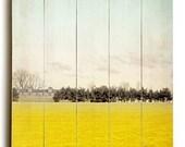 Wooden Sign, Wood Panel, Window Photography, Yellow Decor, Wall Decor, Landscape Photo, Yellow Kitchen, Wall Art, Orange Print, Modern Decor