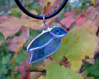 Bluebird Birds Necklace Pendant Jewelry Glass Mothers Day Protection Healing Birthday Yule Solstice Pagan Original Design©