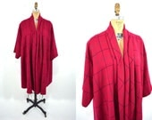 1970s coat vintage 70s red plaid draped open wool swing coat