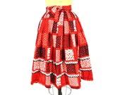 1950s skirt vintage 50s red black white full cotton novelty print skirt XS