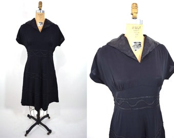 1940s crepe dress | black crepe dolman sleeve dress | vintage 40s dress | W 30""