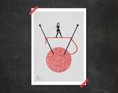 Yarn girl knitting red cute tightrope walker grey black - Wool-walker Print 5 x 7