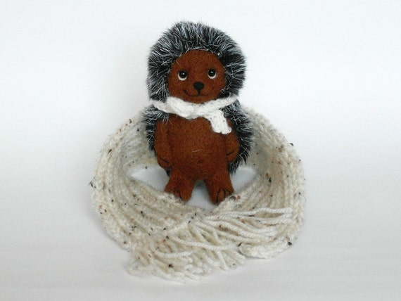 Brown Wool Hedgehog  5, Miniature Needle Felted Soft Sculpture, OOAK, brown, white. MADE to ORDER.