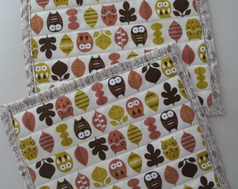 Set of 2 Snack Mats Woodland Owl Place Mat