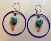 Nepalese Inlay Blue Loop Earrings