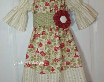 Vintage Rose Peasant Dress with Sash in your choice of  6m-4t
