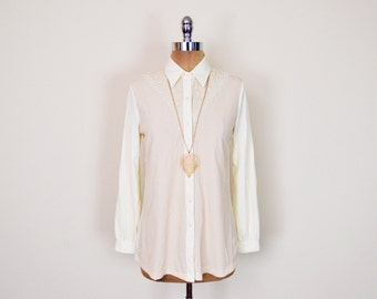 Vintage 70s Yellow Cream Sheer Embroider Lace Yoke Bib Disco Shirt Disco Collar Polyester Shirt Button Up Shirt 70s Shirt 70s Hippie Shirt M