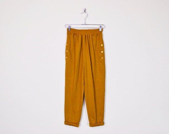 Original Pants Mustard Cottoncorduroy Highrise Fitted Waistband