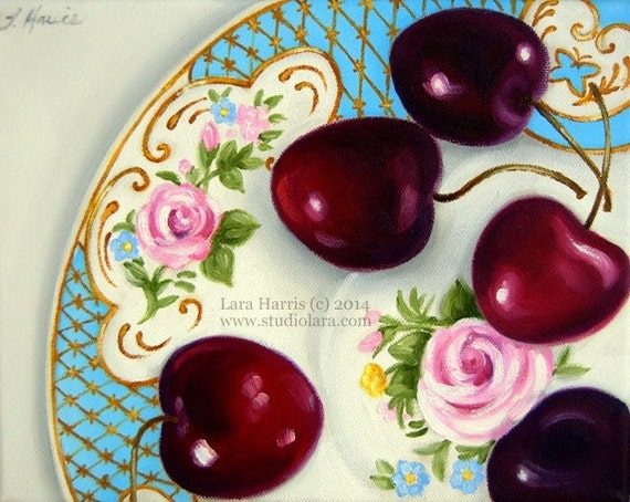 Cherries on Vintage Floral Plate Fine Art Giclee Print by LARA 8x10