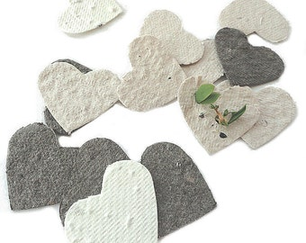 Seed Paper Hearts - cream, white, ivory, brown diy wedding favors, place cards, save the date cards, creative invitations