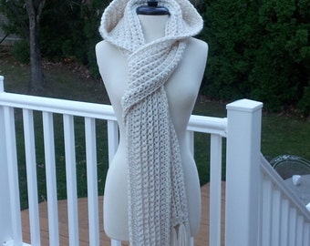 "Ultra Plush Nordic Hooded Scarf, this one in color ""Nordic White"" is ready to ship."