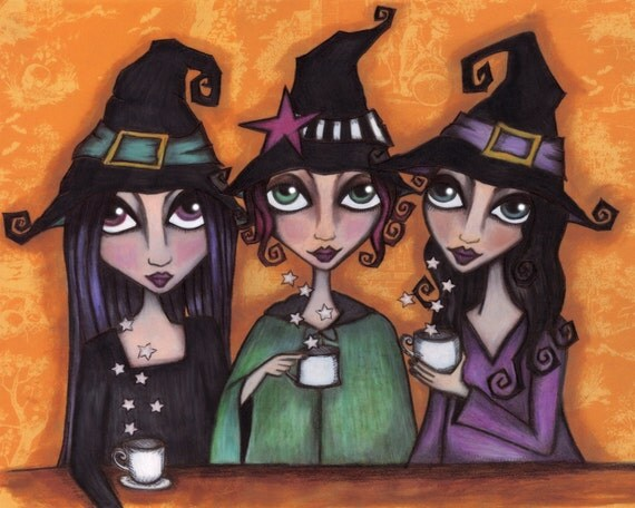 The Witches Tea Party  - 8 x 10 inch Signed Print
