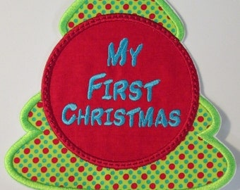 My First Christmas Applique Christmas Tree - Iron or Sew On Applique
