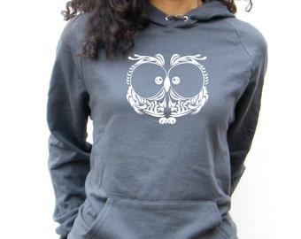 Owl Pullover Sweatshirt - American Apparel California Fleece Pocket  Hoodie - XS, Small, Medium, Large, XL, 2XL