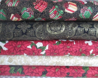 Black Red Green Christmas Metallic Gold Half Yard Fabric Bundle