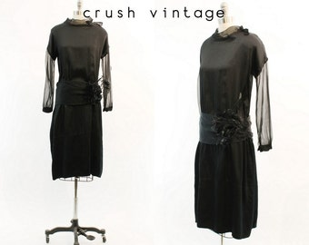 20s Dress Silk Small Medium / 1920s Feather Flapper Dress / Black Smoke Dress