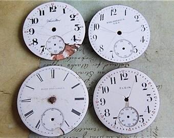 Vintage Antique porcelain pocket Watch Faces - Steampunk - Scrapbooking k57