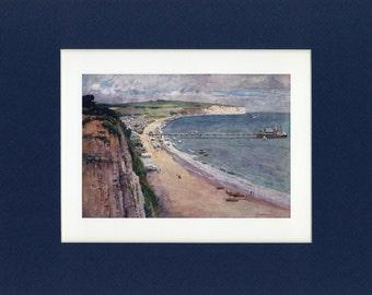 Scenic 1908 Isle of Wight - Sandown Bay Antique Book Illustration
