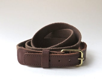 vintage Brown Woven Cotton and Leather belt