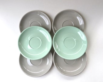 Mid Century vintage Pale Grey and Mint Green Boontonware Melmac Saucers / set of 6