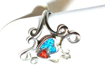 Abstract Turquoise Carnelian Heart in Silver Tone Vintage Ring