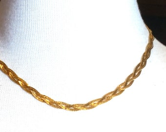 Monet Vintage Triple Braided Chain Necklace 16 inches