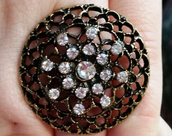 Vintage Brass Look Ring Large with Rhinestones adjustable