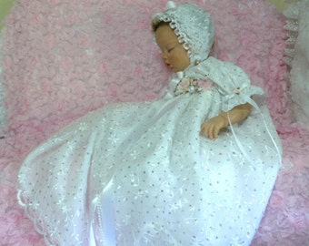 GOWN for REBORN or BABY White Organza Embroidered Silver Dots Victorian size 0-3 months
