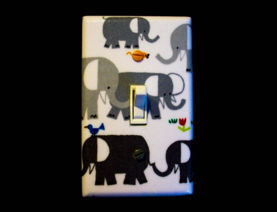 Grey Elephants Light Switch Cover Gray By Cathyscraftycovers