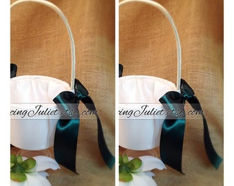 Custom Colors Flower Girl Basket...SET OF 2...You Choose the Colors....shown in ivory/hunter green