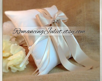 Romantic Satin Ring Bearer Pillow...You Choose the Colors...Buy One Get One Half Off...shown in ivory/champagne