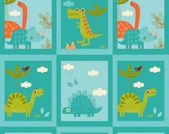 FALL SALE - Dinosaur - Patch in Blue - Sku C4161 - 1 Yard - by The Rbd Team for Riley Blake Designs