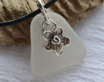 Genuine Sea Glass Necklace - Frosty White - Flower Power - Sterling Silver Pendant - Beach Glass Jewelry