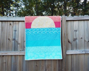 Crib Quilt, Big Sunset,  Applique Quilt, Custom Design, PLUSH for baby, Boy or Girl fabrics available