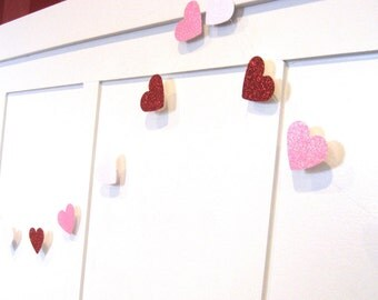 VALENTINES DAY Heart Garland - red pink and white glitter