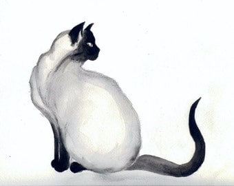 "Print of my original painting ""Ink Siamese"" - 9""x12"" giclee process print"