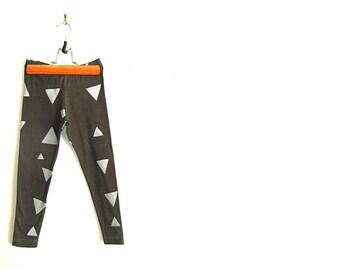 Children's Hand Screen printed Charcoal & Silver Geometric Modern Triangle Leggings. 12mths-8 years