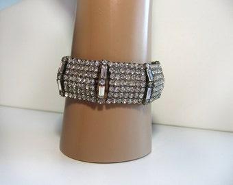 Vintage 1950s 1940s Wide Rhinestone Bracelet