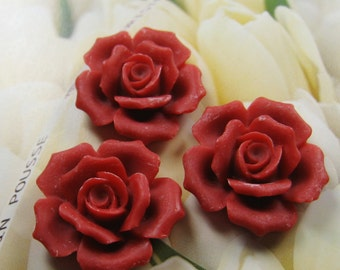 27mm - Red Rose Cabochon - 4 pcs (CA835-A)