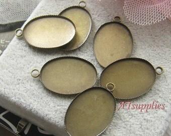 20 pcs -25mmx18mm Oval glass cabochon base / pendant setting