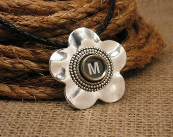 Typewriter Key Jewelry - Flower Pendant - Authentic Black Initial M on Antique Silver Floral Pendant w/ Matching Black Leather Cord Necklace