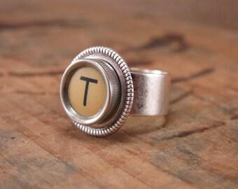 Typewriter Key Jewelry - Personalized Jewelry - Initial T Buttery Yellow Typewriter Key Ring