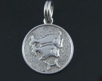 Vintage Pisces Sterling Silver Zodiac Charm