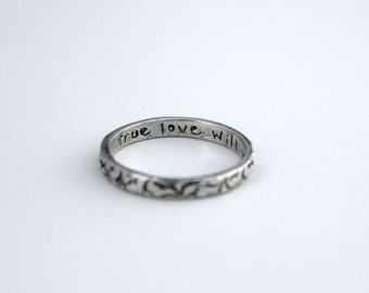 purity ring . true love will wait ring . vine textured silver skinny band . thin stacking ring by peacesofindigo . size 5 6 7 8 9