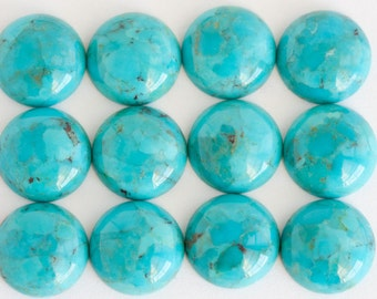 12mm One Beautiful American Round Blue Turquoise Cabochon - 12mm