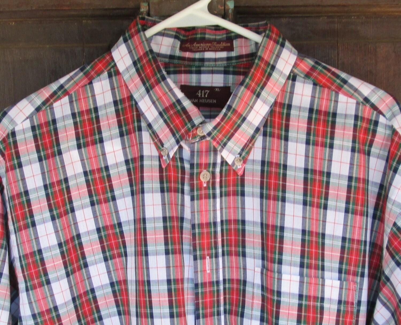 Plaid shirt van huesen xl vintage stewart by vintagecarolina for Van heusen plaid shirts