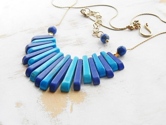 Turquoise and Lapis Gold and Blue Egyptian Necklace