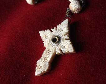 Antique Bone Rosary Hand Carved Stanhope Cross