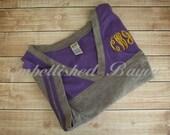 SALE Women's Short Sleeve Spirit Shirt with Monogram in Purple or Black