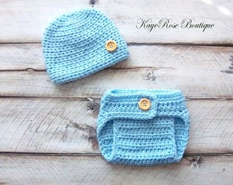 Newborn to 3 Month Old Baby Boy Hat and Diaper Cover Set Blue
